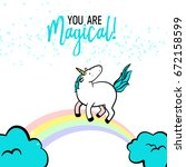 magic unicorn birthday card.... | Shutterstock .eps vector #672158599