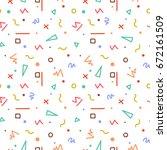 colorful memphis seamless...   Shutterstock . vector #672161509