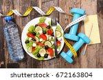 health food concept diet plan | Shutterstock . vector #672163804