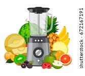 blender mixer  with fruit.... | Shutterstock .eps vector #672167191