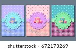 happy birthday greeting cards.... | Shutterstock .eps vector #672173269
