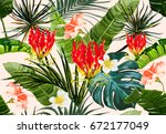 beautiful seamless vector... | Shutterstock .eps vector #672177049