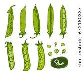 hand drawn peas set on white...   Shutterstock .eps vector #672180337
