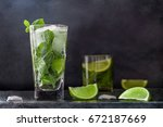 mojito cocktail drink with lime ... | Shutterstock . vector #672187669