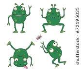 robot frog cartoon vector... | Shutterstock .eps vector #672195025