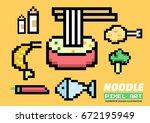 noodle ingredients set. pixel...