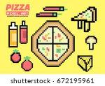 pizza ingredients set. pixel...