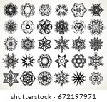 set of ornate lacy doodle... | Shutterstock . vector #672197971