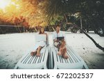 two beautiful adult people on... | Shutterstock . vector #672202537