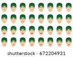 emotions set. a man wearing a... | Shutterstock .eps vector #672204931