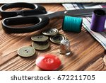 bright image of sewing kit... | Shutterstock . vector #672211705