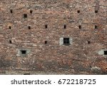 old grunge brick wall... | Shutterstock . vector #672218725