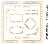 golden ornamental decoration... | Shutterstock .eps vector #672219661