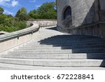 staircase on one side of the... | Shutterstock . vector #672228841