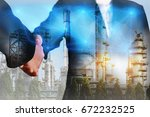 double exposure of handshake ... | Shutterstock . vector #672232525