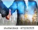 double exposure of handshake ... | Shutterstock . vector #672232525