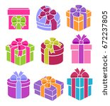 colorful gift boxes set. vector | Shutterstock .eps vector #672237805