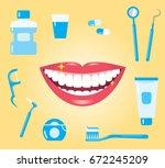 dental hygiene concept. smiling ... | Shutterstock .eps vector #672245209