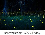 Small photo of Firefly flying in the forest. Fireflies in the bush at night in Bangkok (Prachinburi) Thailand. Firefly symbolizes the integrity of the ecosystem. Long exposure photo.