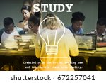 woman learning study education... | Shutterstock . vector #672257041