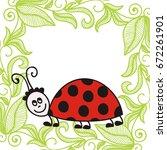cute cartoon ladybug. vector...   Shutterstock .eps vector #672261901