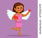 african female cupid holding... | Shutterstock .eps vector #672262159