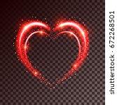shiny heart shaped frame on... | Shutterstock .eps vector #672268501