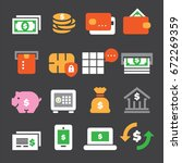 banking color icons | Shutterstock .eps vector #672269359