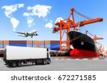 truck container commercial... | Shutterstock . vector #672271585