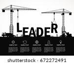 crane and leader building.... | Shutterstock .eps vector #672272491