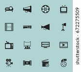 set of 16 editable movie icons. ... | Shutterstock .eps vector #672275509