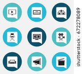 set of 9 editable cinema icons. ... | Shutterstock .eps vector #672278089