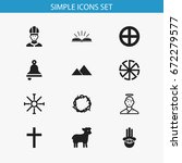 set of 12 editable religion... | Shutterstock .eps vector #672279577