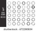 vintage wreaths collection.... | Shutterstock .eps vector #672280834