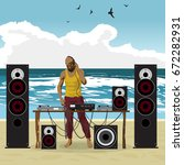 summer party  dj afro man and... | Shutterstock . vector #672282931
