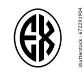 Stock vector black monogram curved oval shape initial letter ex logo vector 672291904