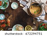 frame of italian pasta  snacks... | Shutterstock . vector #672294751