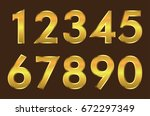 set of metallic numbers.vector... | Shutterstock .eps vector #672297349