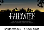 halloween background with... | Shutterstock .eps vector #672315835