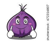 smile red onion character... | Shutterstock .eps vector #672316807
