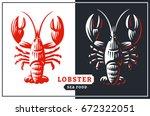 lobster vector illustration.... | Shutterstock .eps vector #672322051