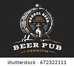 wooden beer barrel logo  ... | Shutterstock .eps vector #672322111