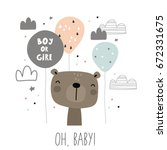 baby shower card design. boy or ... | Shutterstock .eps vector #672331675
