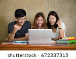 three asia teenage students...   Shutterstock . vector #672337315