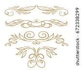 set of elegant floral elements