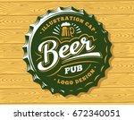 mug beer logo on cap   vector... | Shutterstock .eps vector #672340051