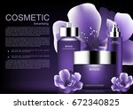 cosmetic products with blooming ... | Shutterstock .eps vector #672340825