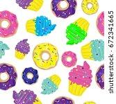 bright seamless pattern in pop...   Shutterstock .eps vector #672341665