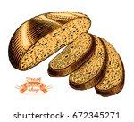 hand drawn bread bakery in... | Shutterstock .eps vector #672345271