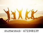 group of five happy friends... | Shutterstock . vector #672348139